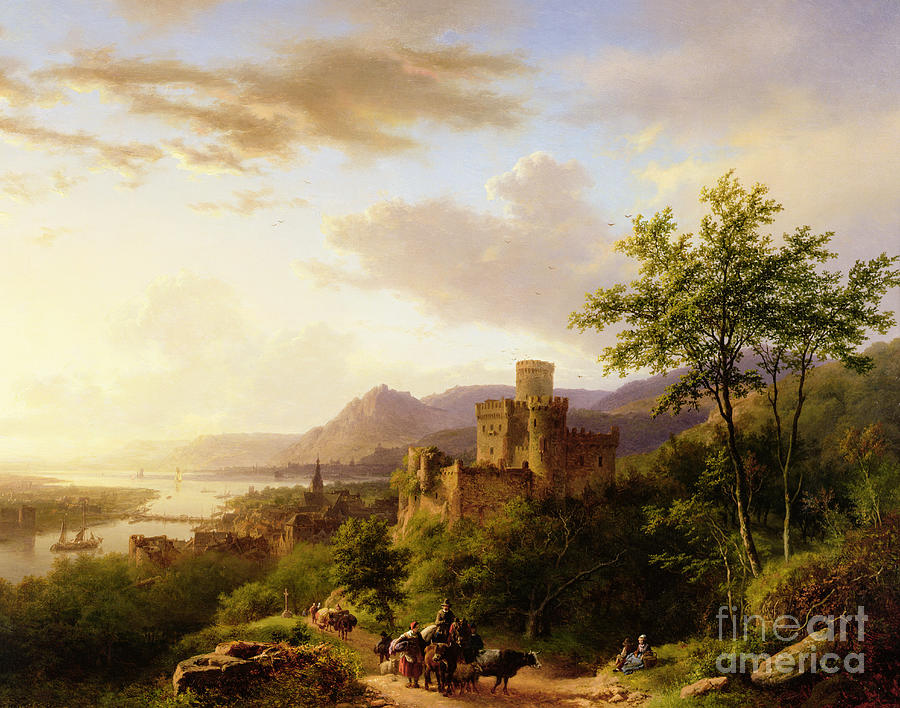 Travellers On A Path In An Extensive Rhineland Landscape Painting
