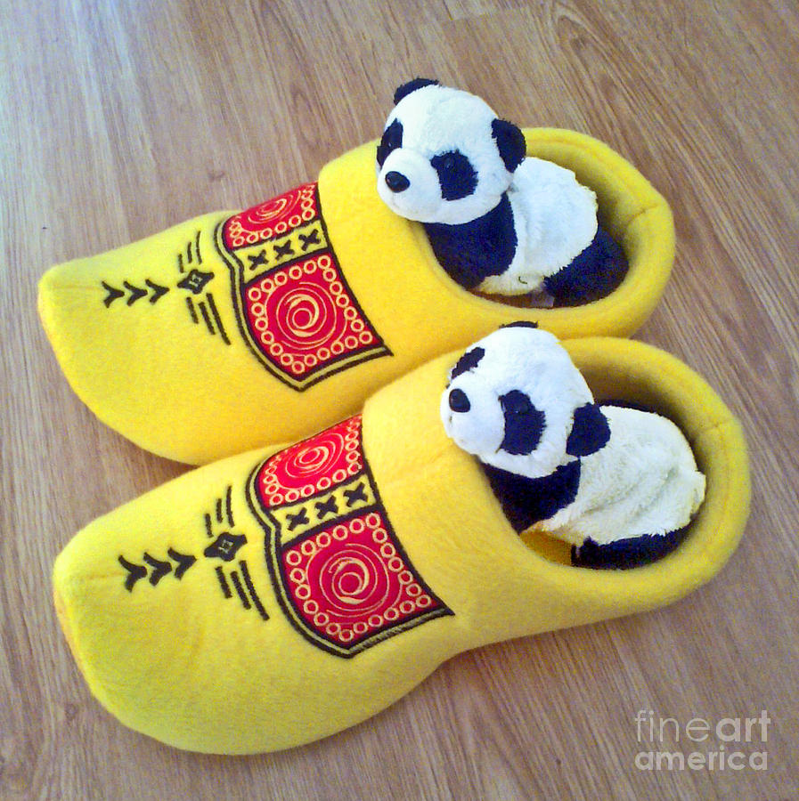 Travelling Pandas Series. Dutch Weekend. Cozy Dutch Clogs. Square Format Photograph