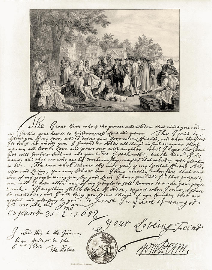 History Photograph - Treaty Between William Penn by Photo Researchers
