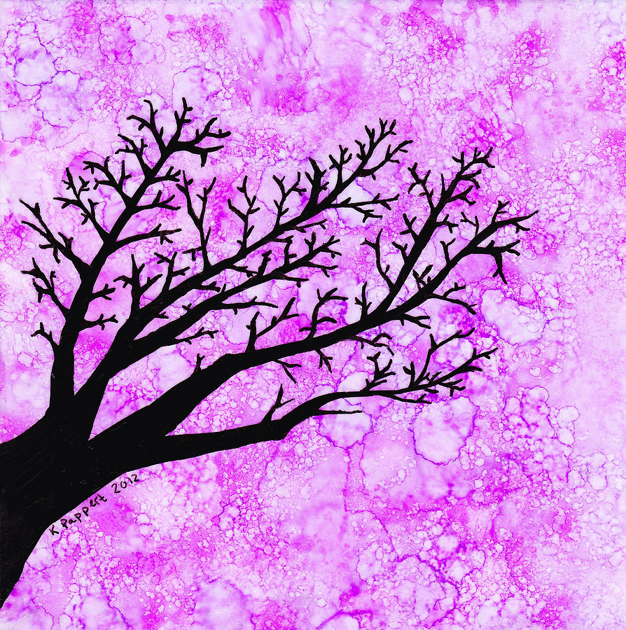 Tree Branch On Pink Splash Painting  - Tree Branch On Pink Splash Fine Art Print