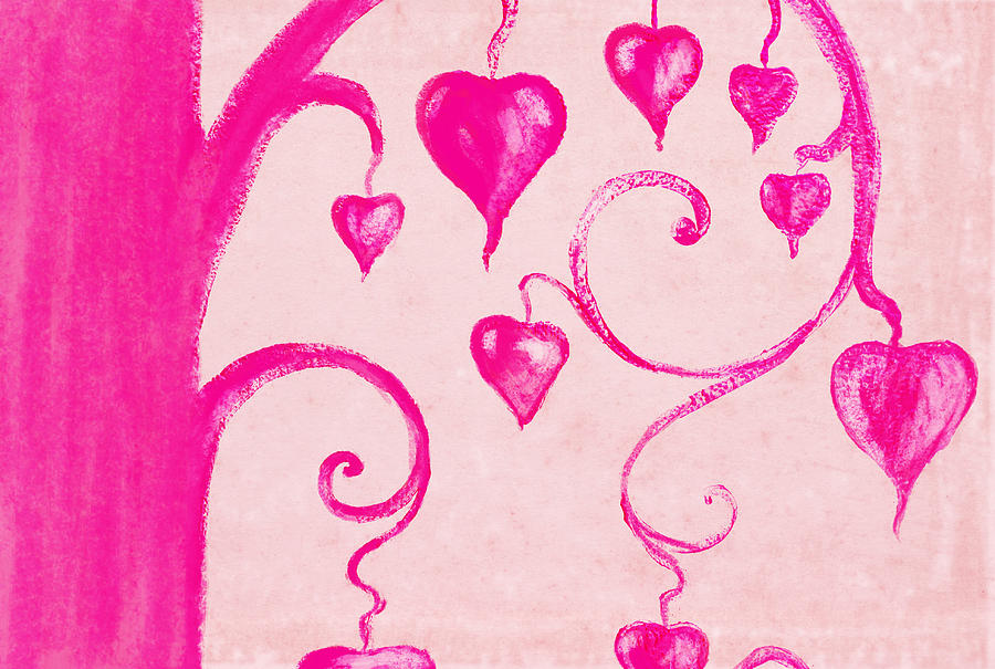 Tree Of Heart Painting On Paper Painting  - Tree Of Heart Painting On Paper Fine Art Print