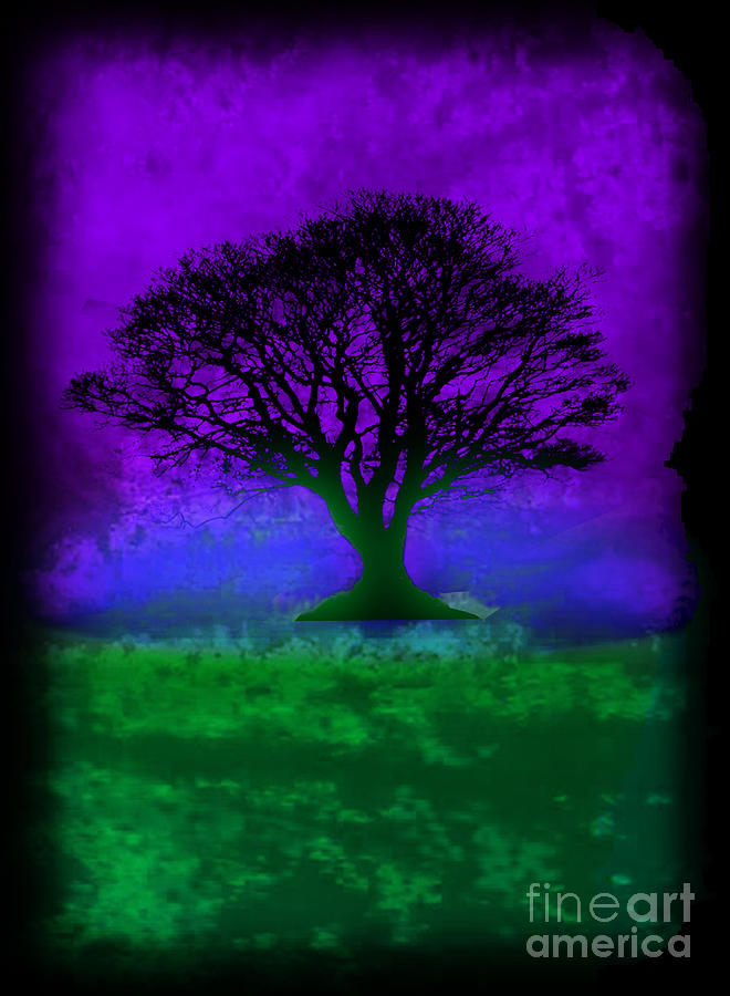 Tree Of Life - Purple Sky Painting  - Tree Of Life - Purple Sky Fine Art Print