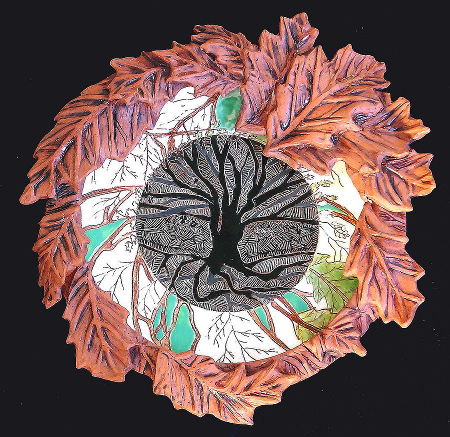Leaves Ceramic Art - Tree Of Life With Oak Leaves And Veins Platter by Patty Sheppard
