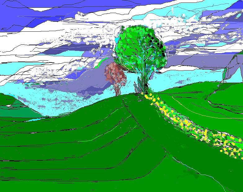 Landscape Digital Art - Tree On The Hill by Alberto Lacoius-Petruccelli