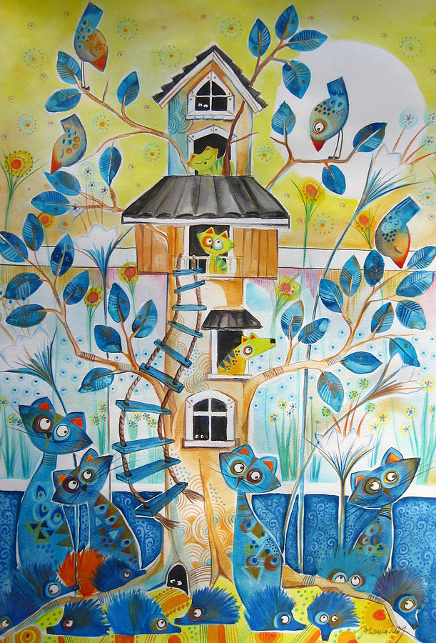 Treehouse Drawing  - Treehouse Fine Art Print