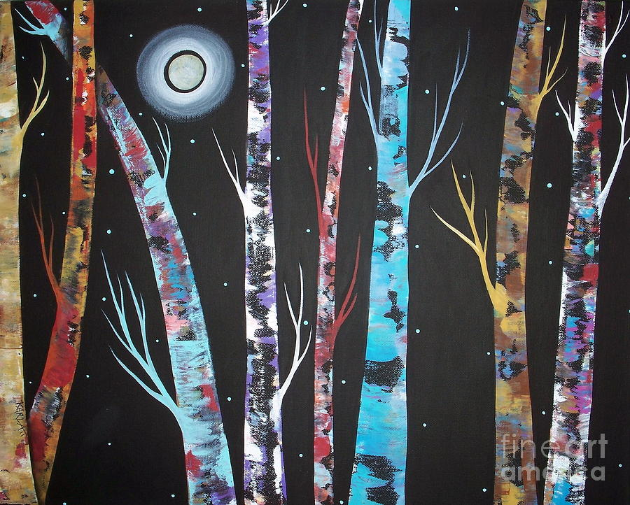 Trees And Moon Painting  - Trees And Moon Fine Art Print