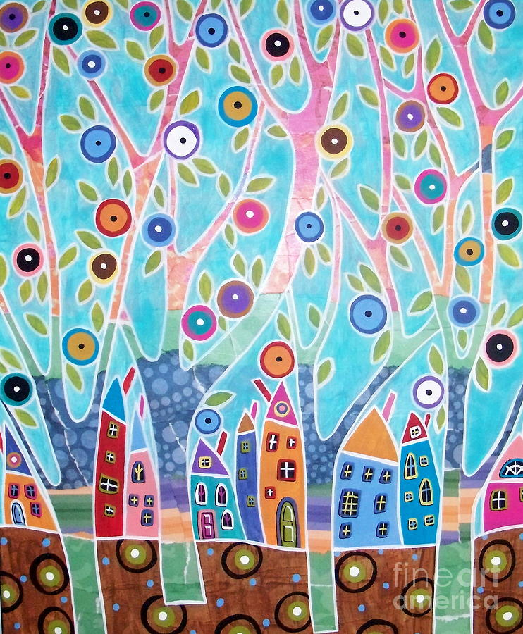 Trees Houses Landscape Painting
