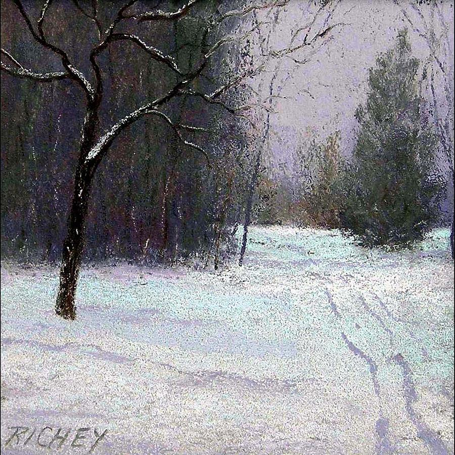 Trees In A Winter Fog Pastel