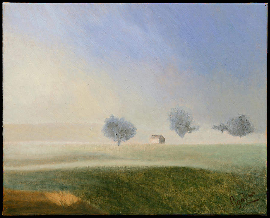 Landscape Painting - Trees In The Mist by Gloria Cigolini-DePietro