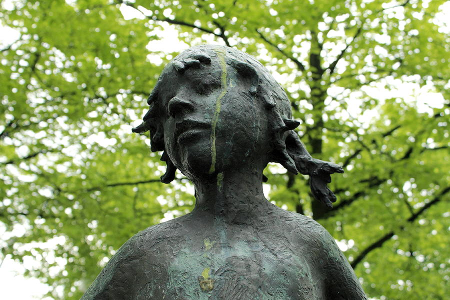 Girl Statue Green Tears Teardrop Tear Teardrops Tree Trees Spring Park Little Child Leaf Photograph - Trees May Cry by Stefan Kuhn