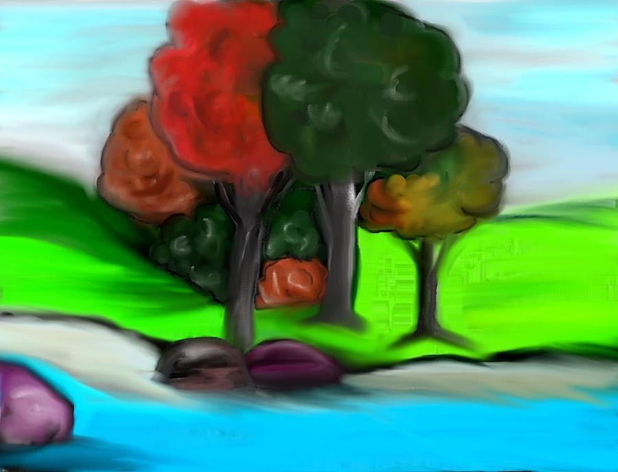 Trees Digital Art - Trees On River by Paula Brown