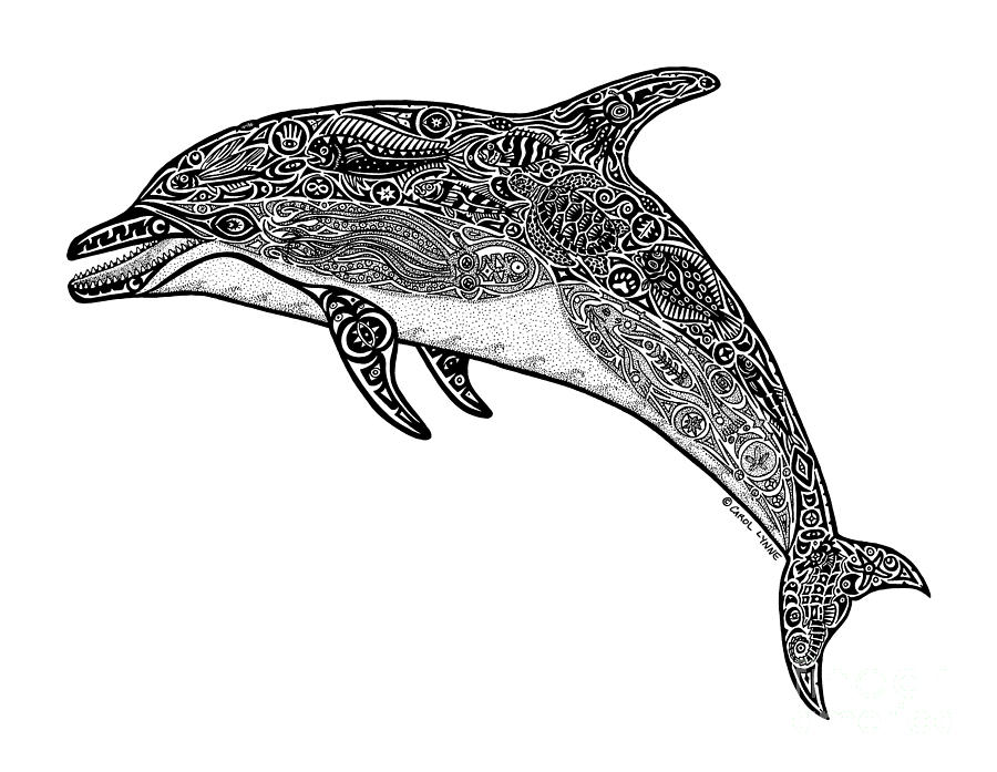 Tribal Dolphin Drawing  - Tribal Dolphin Fine Art Print