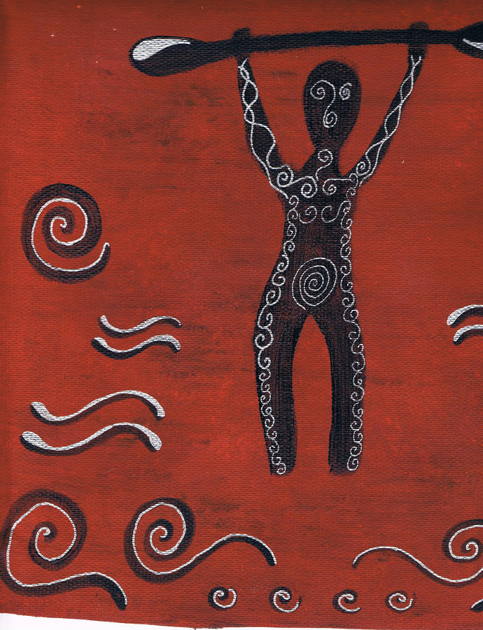 Tribal Paddler Painting  - Tribal Paddler Fine Art Print