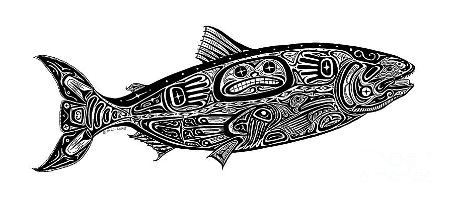 Tribal Salmon Drawing  - Tribal Salmon Fine Art Print