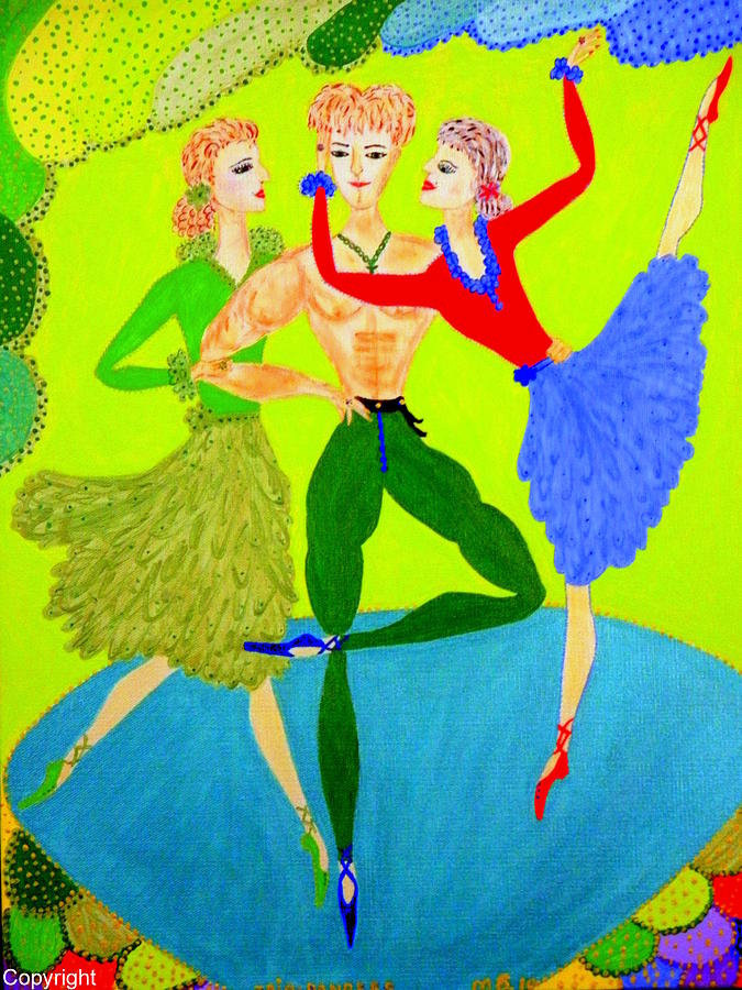 Trio Water-dancers  Painting  - Trio Water-dancers  Fine Art Print