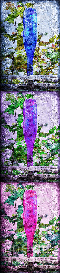 Triptych Cobalt Blue Purple And Magenta Bottles Triptych Vertical Photograph