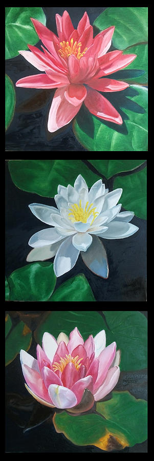 Triptych With Lotus Painting