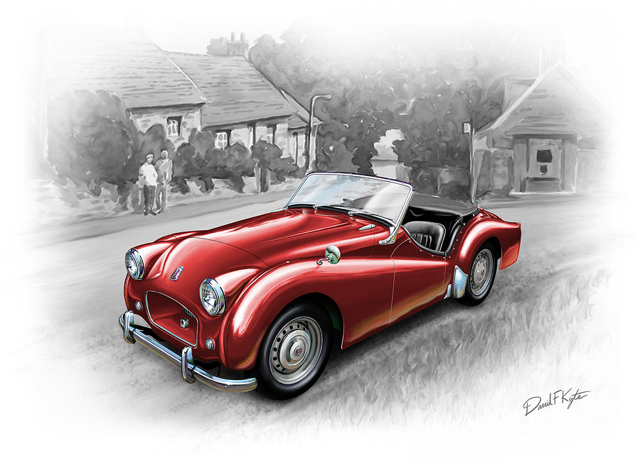 Triumph Tr-2 Sports Car In Red Painting  - Triumph Tr-2 Sports Car In Red Fine Art Print