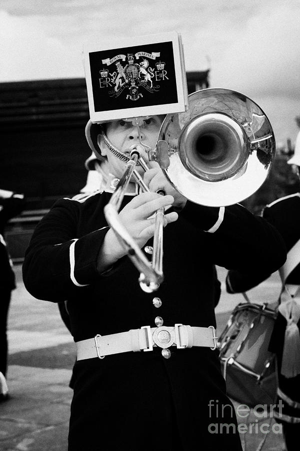 Band Photograph - trombone player of the band of HM Royal Marines Scotland at Armed Forces Day 2010 by Joe Fox