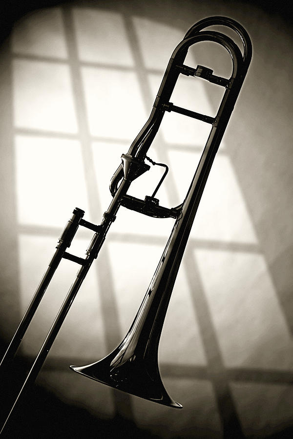 Trombone Silhouette And Window Photograph  - Trombone Silhouette And Window Fine Art Print