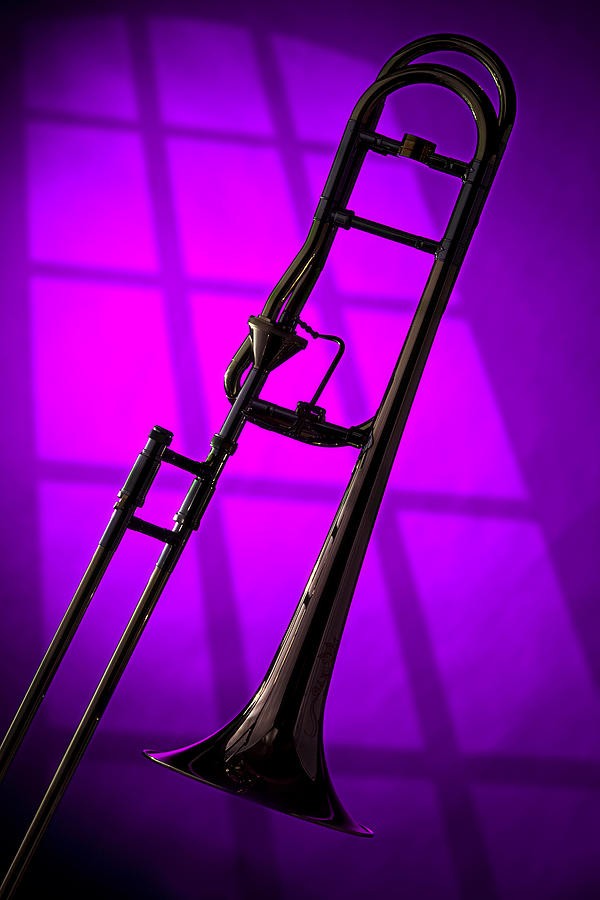 Trombone Silhouette On Purple Photograph  - Trombone Silhouette On Purple Fine Art Print