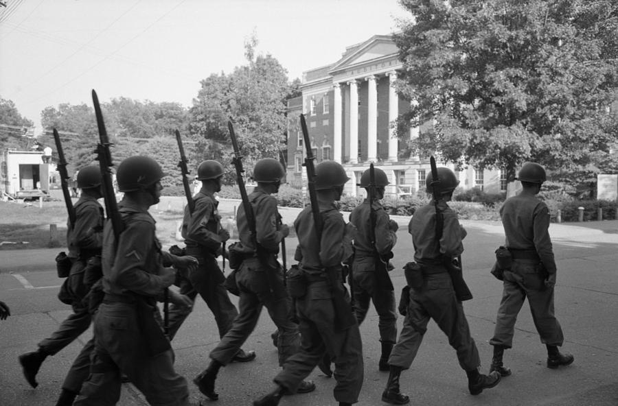 Troops At The University Of Alabama Photograph