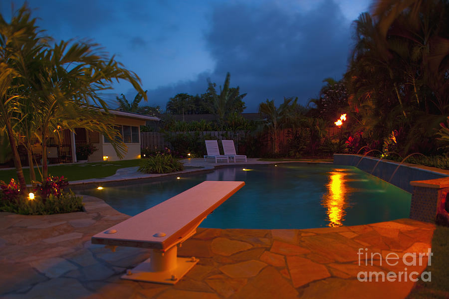 Backyard Pool At Night : Tropcial Backyard Pool At Night is a photograph by Inti St Clair