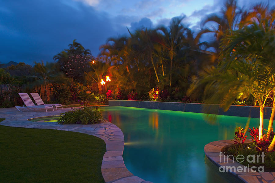 Backyard Pool At Night : Tropical Backyard Pool At Night is a photograph by Inti St Clair
