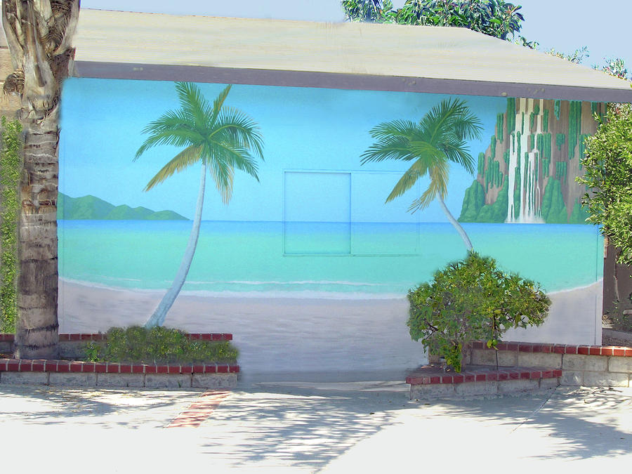 Tropical beach mural los angeles by tim cornelius for Beach mural painting
