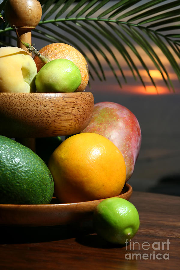 Tropical Fruits At Night Photograph  - Tropical Fruits At Night Fine Art Print