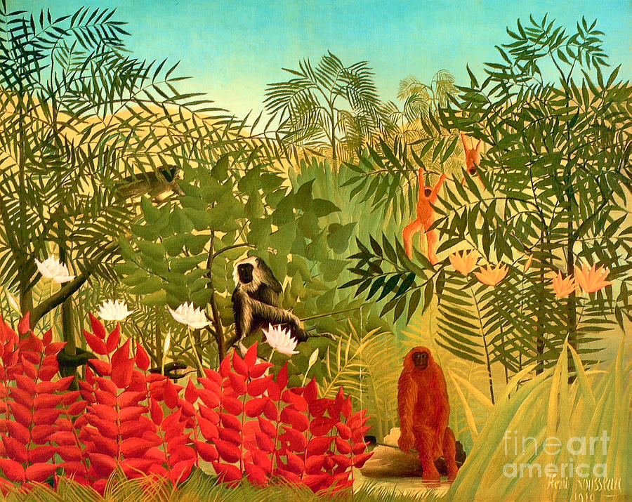 Tropical Jungle By Henri Rousseau Painting