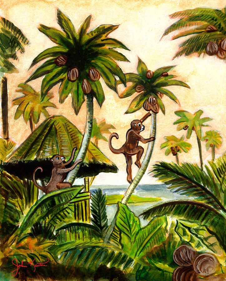 Tropical Scene Painting  - Tropical Scene Fine Art Print