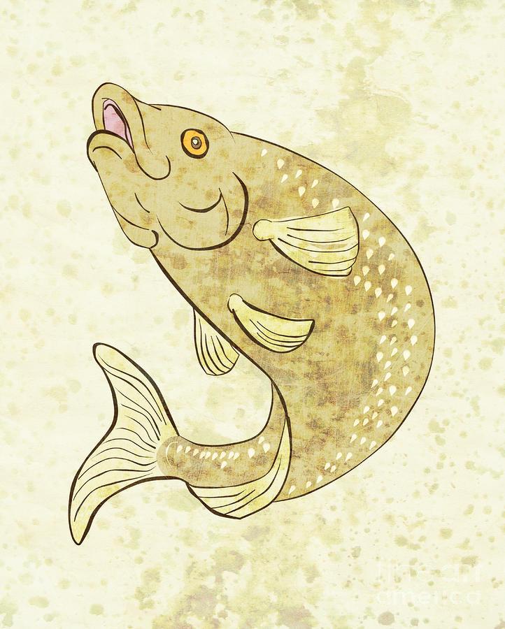Trout Fish Jumping Digital Art