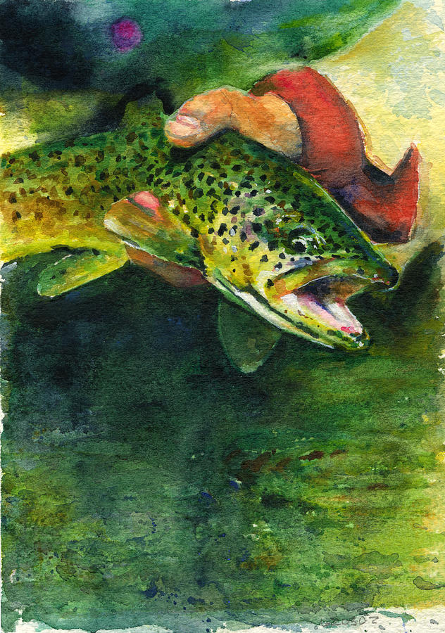 Trout In Hand Painting  - Trout In Hand Fine Art Print