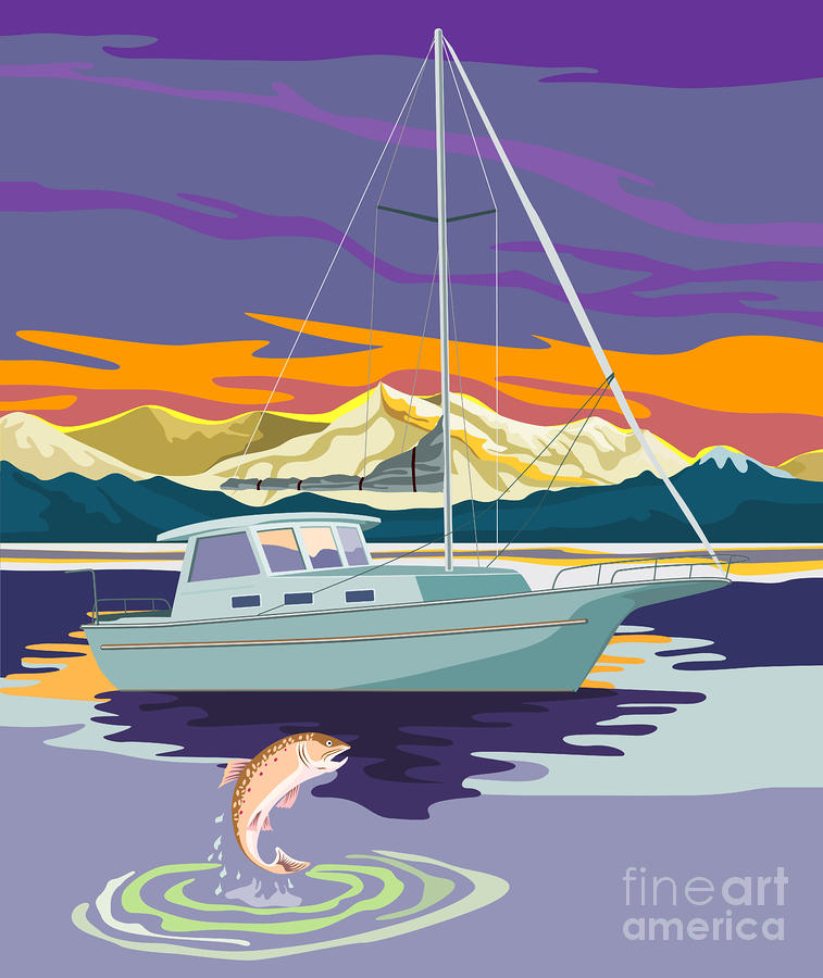 Trout Jumping Boat Digital Art  - Trout Jumping Boat Fine Art Print