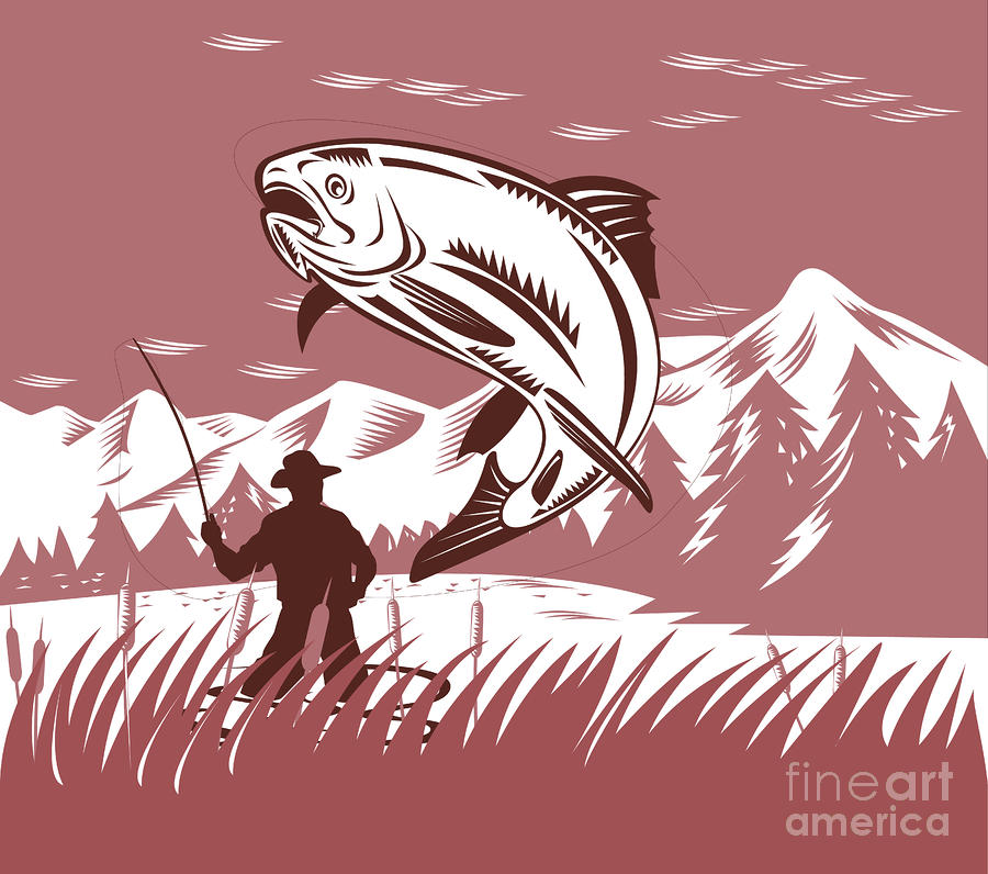 Trout Jumping Fisherman Digital Art