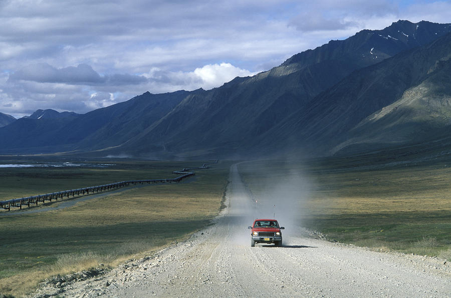 Truck On The Dalton Highway Following Photograph  - Truck On The Dalton Highway Following Fine Art Print