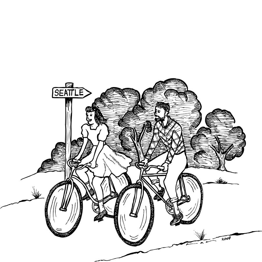 True Romance Seattle Bike Ride Drawing  - True Romance Seattle Bike Ride Fine Art Print
