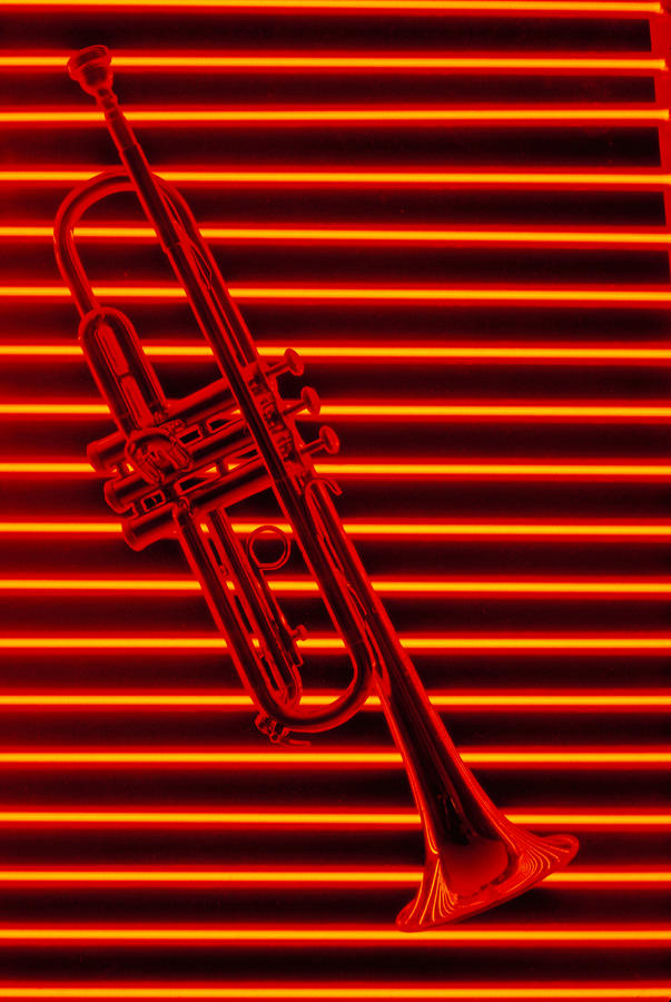 Trumpet And Red Neon Photograph