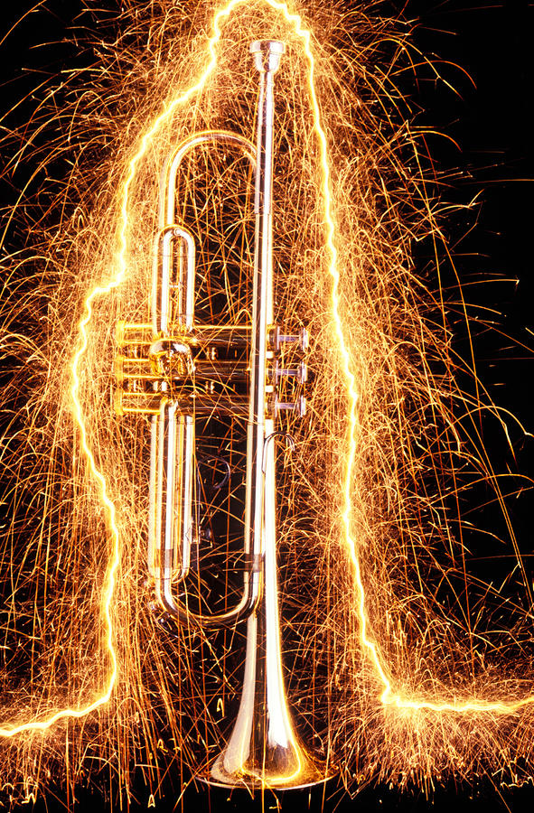 Trumpet Outlined With Sparks Photograph  - Trumpet Outlined With Sparks Fine Art Print