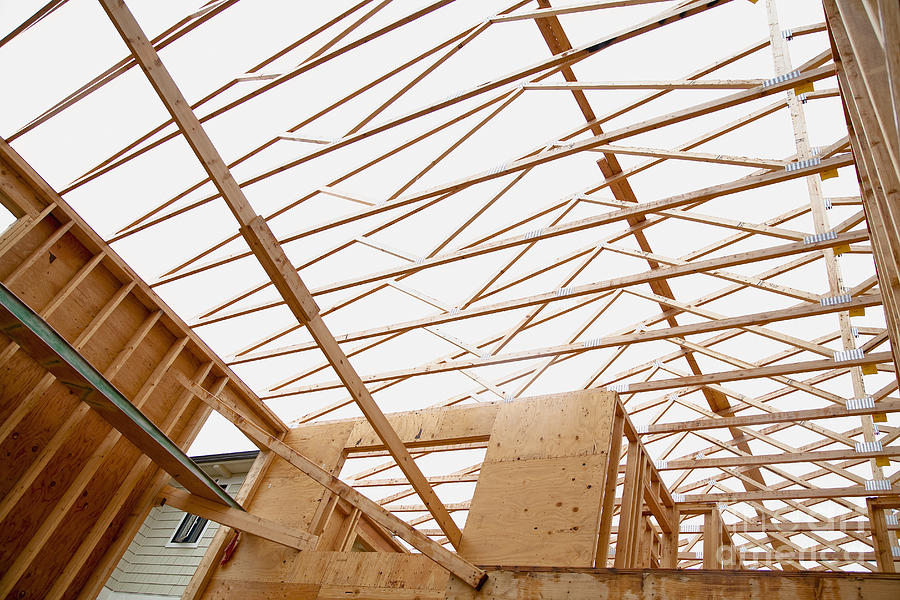 Trusses In Home Under Construction Photograph  - Trusses In Home Under Construction Fine Art Print