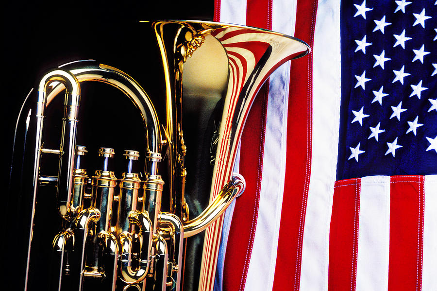 Tuba And American Flag Photograph  - Tuba And American Flag Fine Art Print