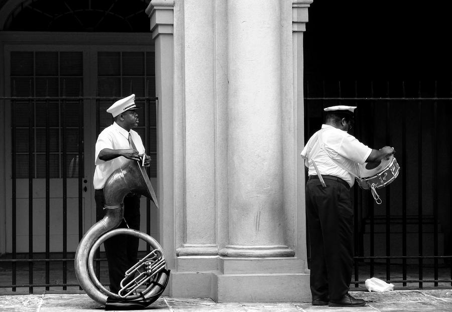 Tuba Player And Drummer Photograph  - Tuba Player And Drummer Fine Art Print