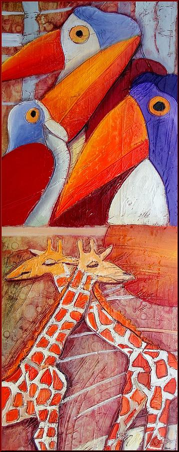 Tucans And Giraffes Painting