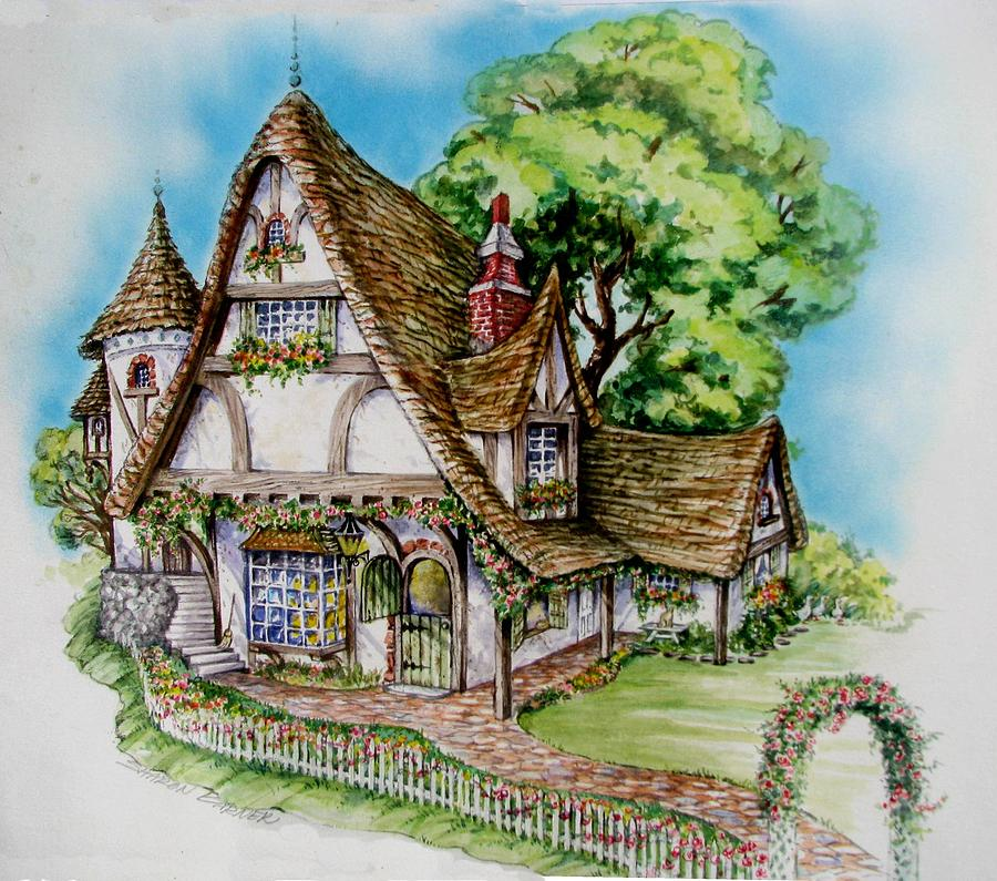 Tudor Cottage Painting by Sharon Barner