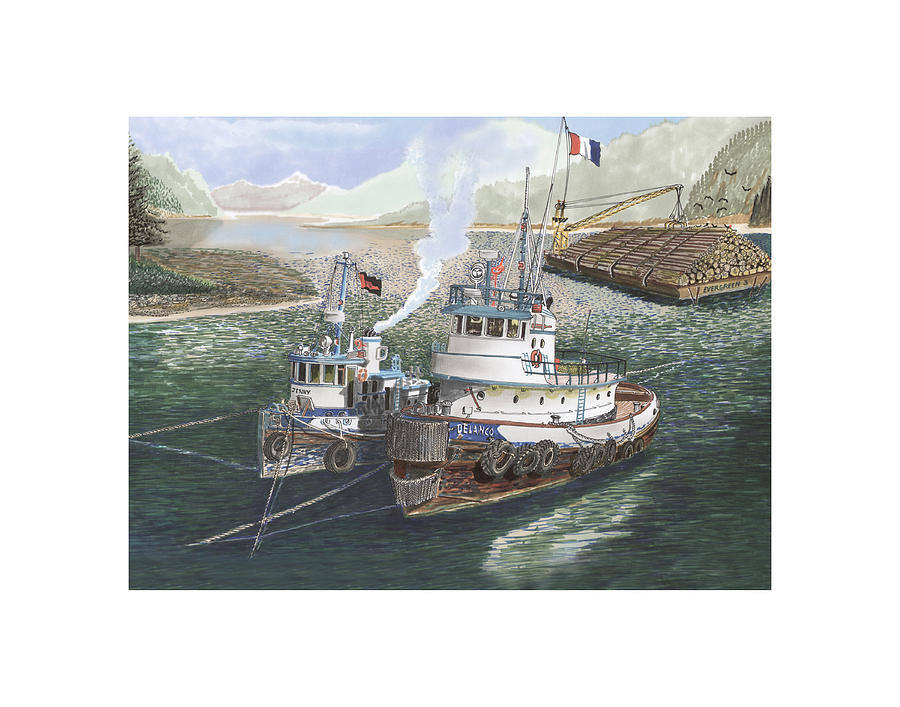 Tug Boats Anchored In Safe Harbor Painting  - Tug Boats Anchored In Safe Harbor Fine Art Print