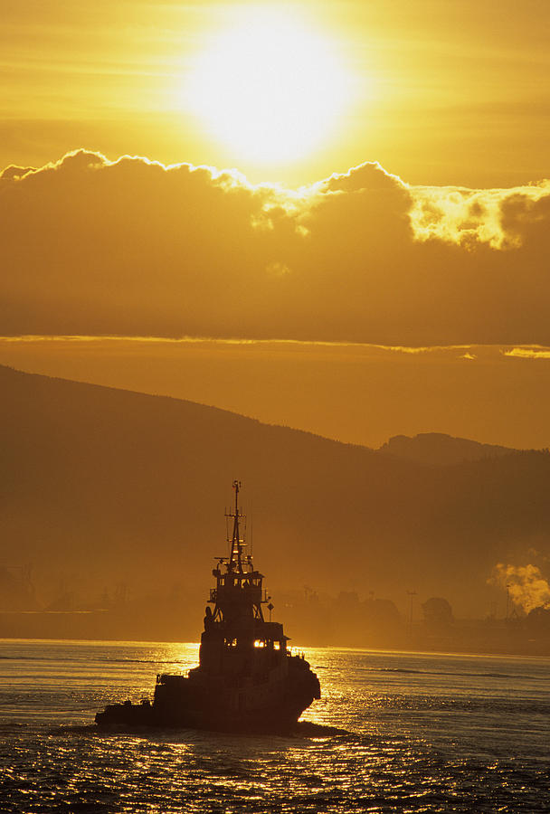 Back-lit Photograph - Tugboat At Sunrise, Burrard Inlet by Ron Watts