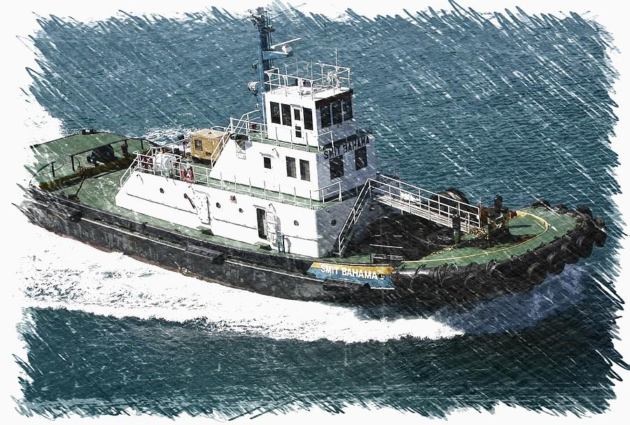 Tugboat Bahamas Three Digital Art  - Tugboat Bahamas Three Fine Art Print