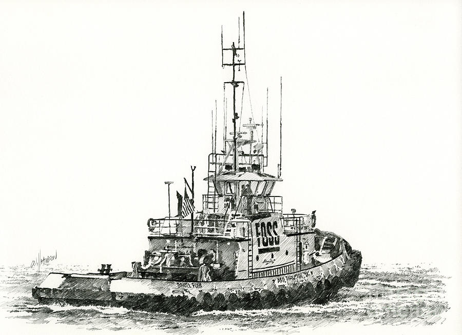 Tugboat Daniel Foss Drawing  - Tugboat Daniel Foss Fine Art Print