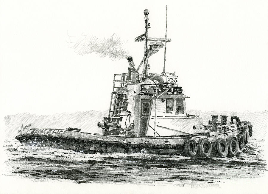 Tugboat Kelly Foss Drawing  - Tugboat Kelly Foss Fine Art Print